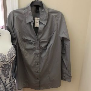 Lane Bryant Gray Long Sleeve Button Front Shirt.